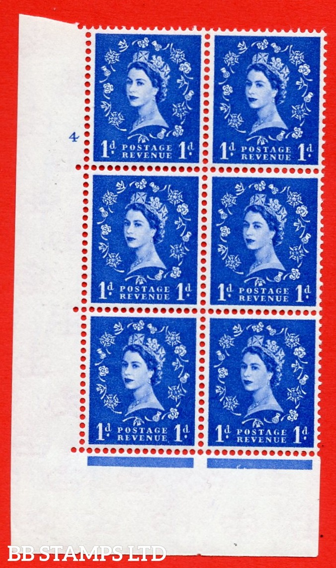 """SG. 571. S16. 1d Ultramarine. A superb UNMOUNTED MINT """" cylinder 4 no dot """" control block of 6 with perf type A E/I. CREAM paper."""