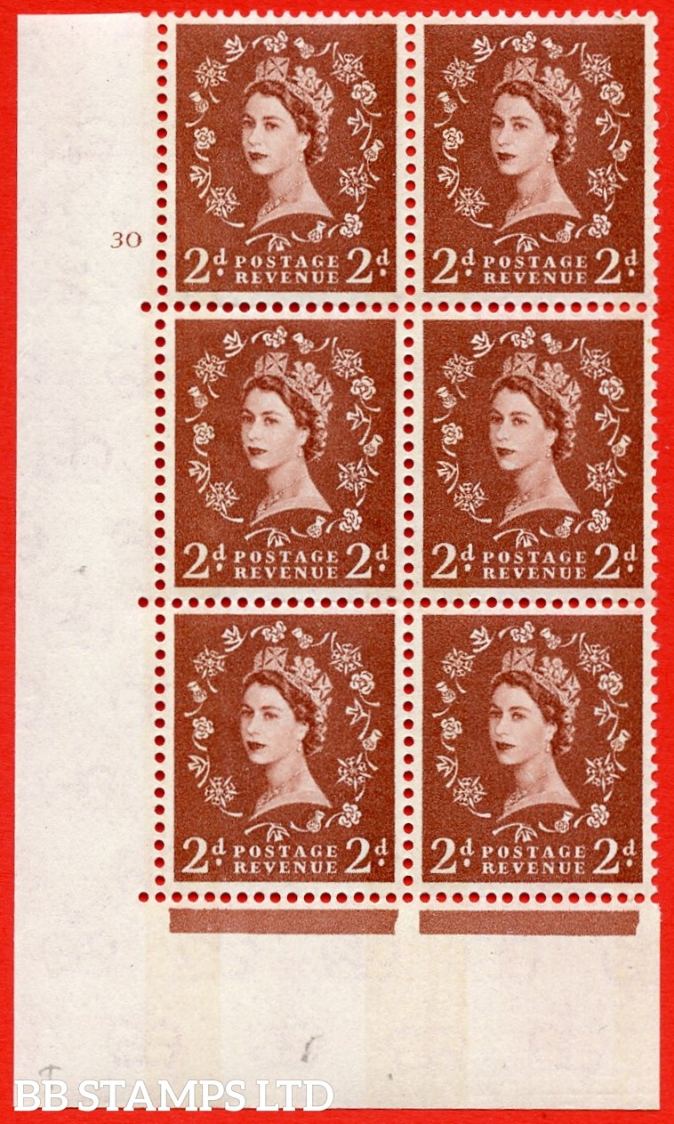 "SG.613a. S46. 2d Light red brown. Letterpress A superb UNMOUNTED MINT "" cylinder 30 no dot "" control block of 6 with perf type A (E/I). Blue Phosphor Cream paper."