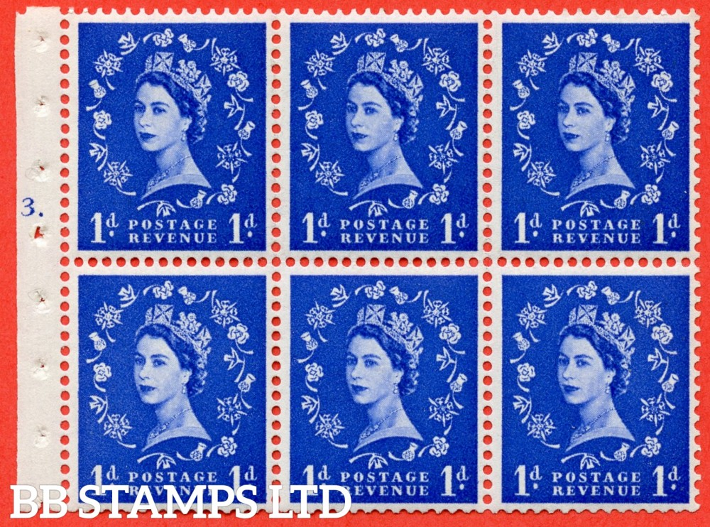 "SG. 541. SB26. 1d ultramarine. A fine UNMOUNTED MINT cylinder "" F3 T dot "" booklet pane of 6. Perf type (Iet) with GOOD PERFS. Smooth edge."
