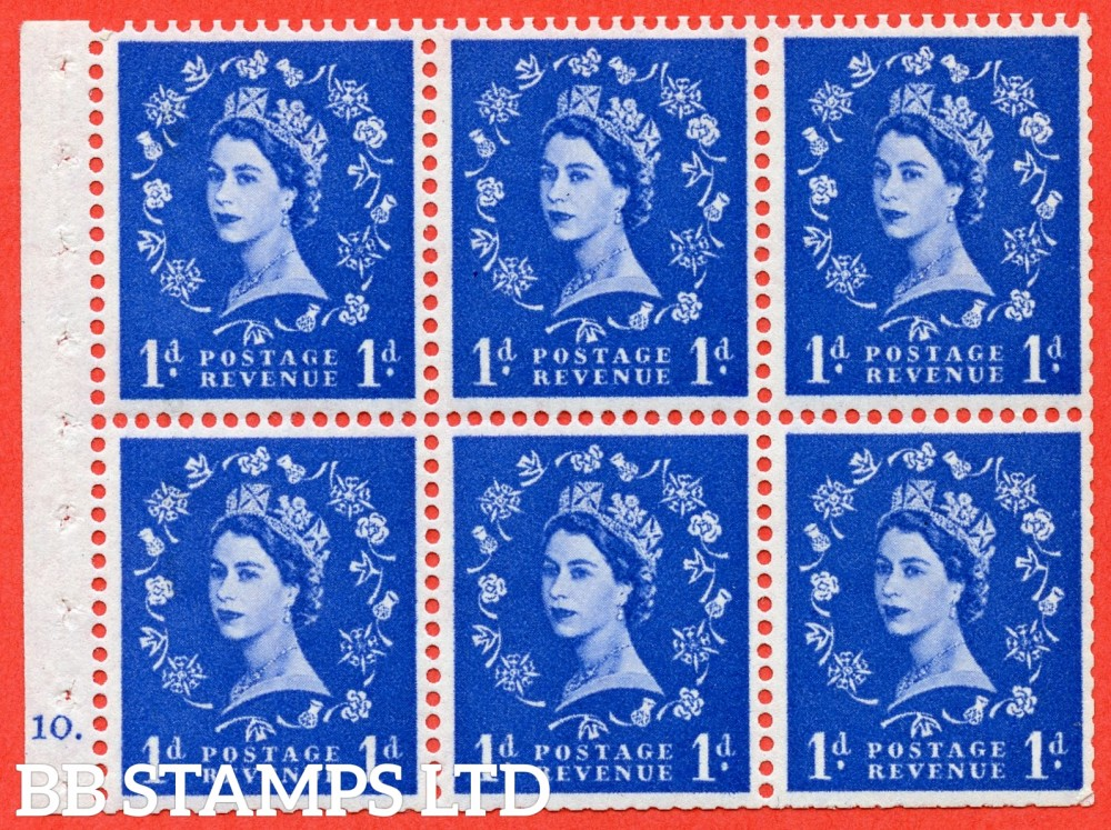 "SG. 571. SB31. 1d Ultramarine. A fine UNMOUNTED MINT cylinder "" F10 dot "" booklet pane of 6. Perf type (Ieb) with TRIMMED PERFS. Smooth edge White paper."
