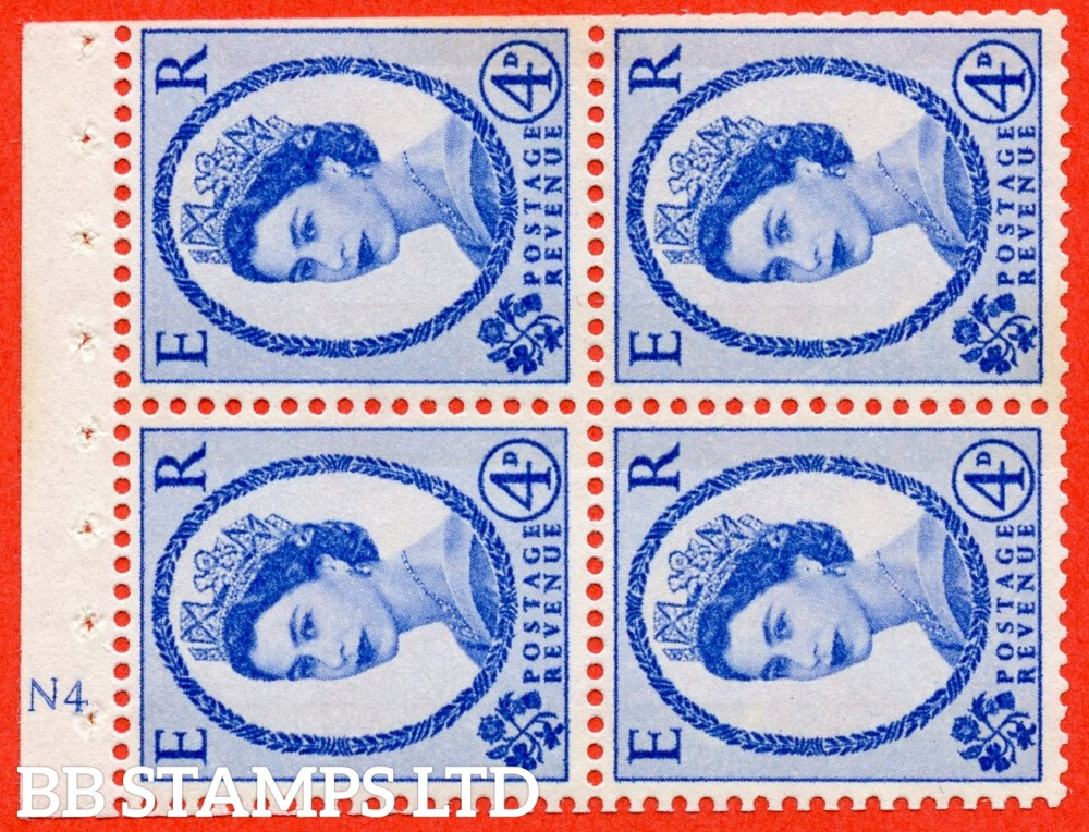 "SG. 616a. SB110ac. 4d Deep Ultramarine. A fine UNMOUNTED MINT cylinder "" N4 ( Wmk right ) no dot "" booklet pane of 4. Perf type (I) with TRIMMED PERFS. Smooth edge. White Paper. UNPRICED in Stanley Gibbons."