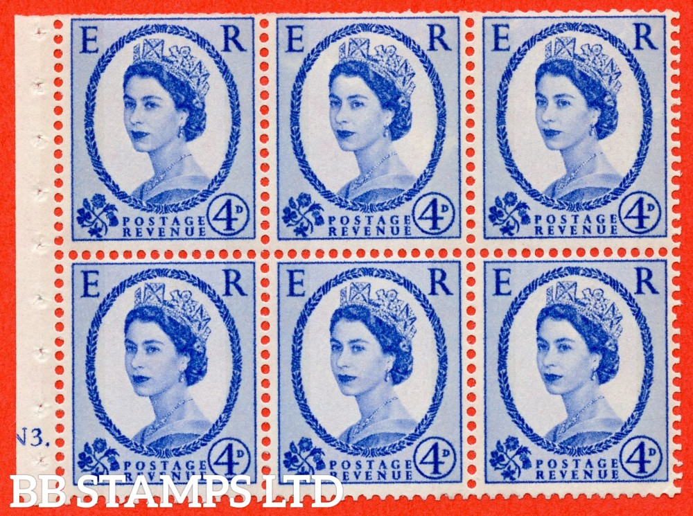 "SG. 616a. SB109. 4d Deep Ultramarine. A fine mounted mint cylinder "" N3 no dot "" booklet pane of 6. Perf type (I) with TRIMMED PERFS. Smooth edge. White Paper."