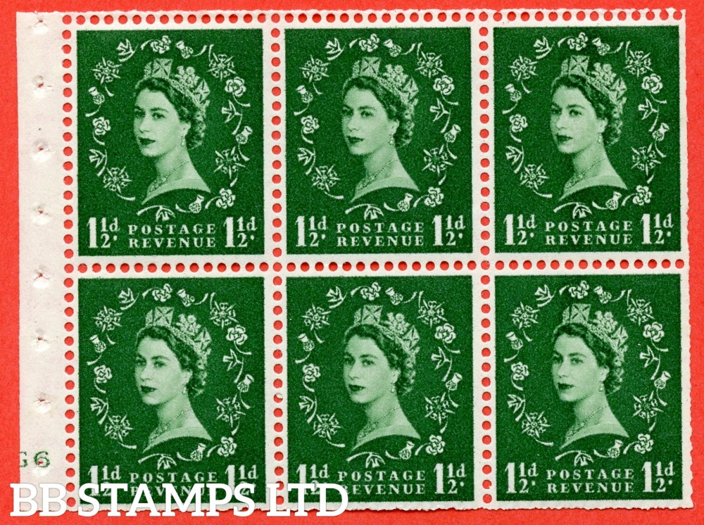"SG. 517. SB59. 1½d green. A fine mounted mint cylinder "" G6 no dot "" booklet pane of 6. Perf type (I) with TRIMMED PERFS. Smooth edge."