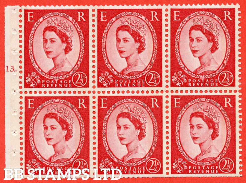 "SG. 614. SB87. 2½d Carmine Red Type II. A fine mounted mint cylinder "" J13 T no dot "" booklet pane of 6. Perf type (Iet) with TRIMMED PERFS. Smooth edge. Cream Paper."