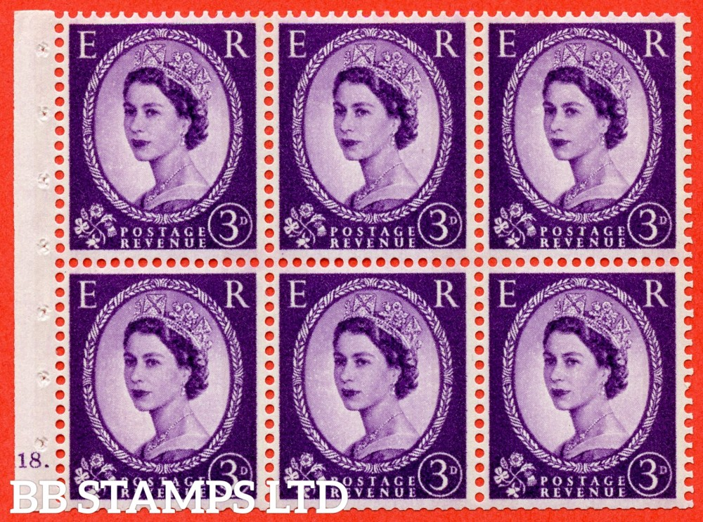 "SG. 615. SB99. 3d Deep Lilac. A fine UNMOUNTED MINT cylinder "" K18 dot "" booklet pane of 6. Perf type (Ieb) with GOOD PERFS. Smooth edge. Cream Paper."