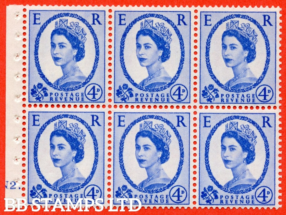 "SG. 576a. SB105. 4d Deep Ultramarine. A fine UNMOUNTED MINT cylinder "" N2 dot "" booklet pane of 6. Perf type (Iet) with GOOD PERFS. Smooth edge. White paper."