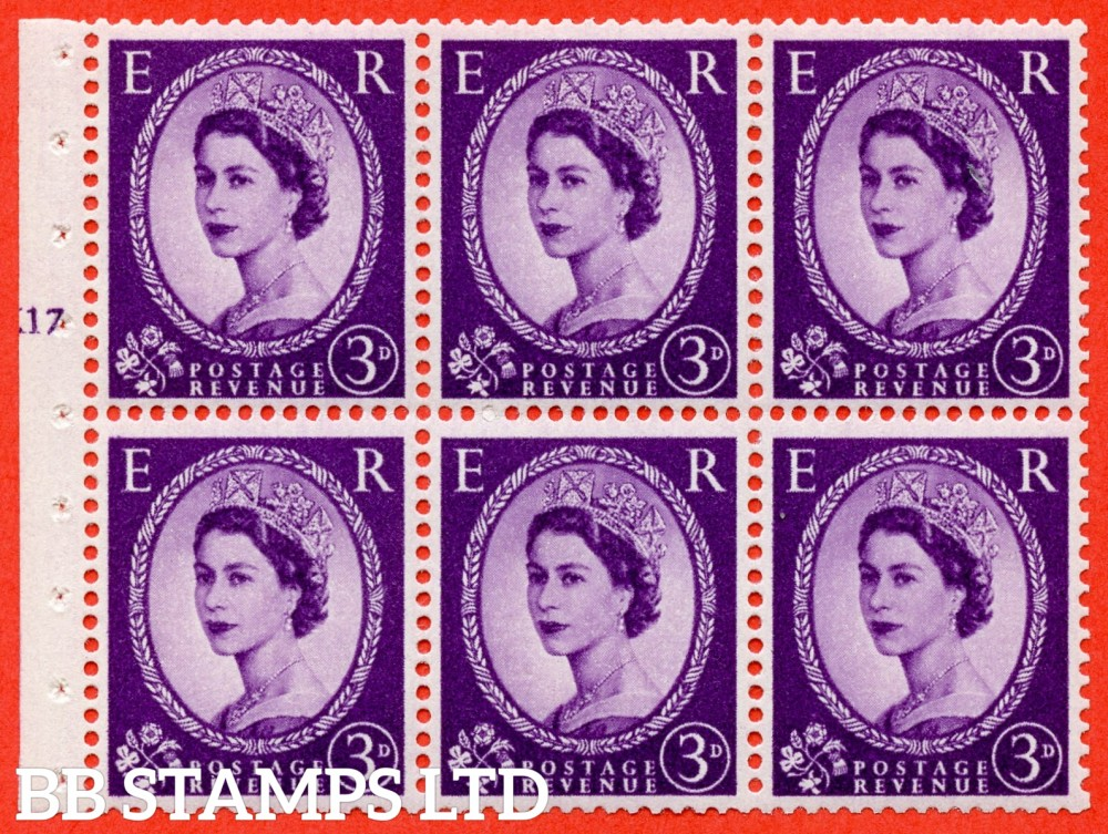 "SG. 575. SB92. 3d Deep Lilac. A fine UNMOUNTED MINT cylinder "" K17 T no dot "" booklet pane of 6. Perf type (I) with GOOD PERFS. Smooth edge. Cream paper."
