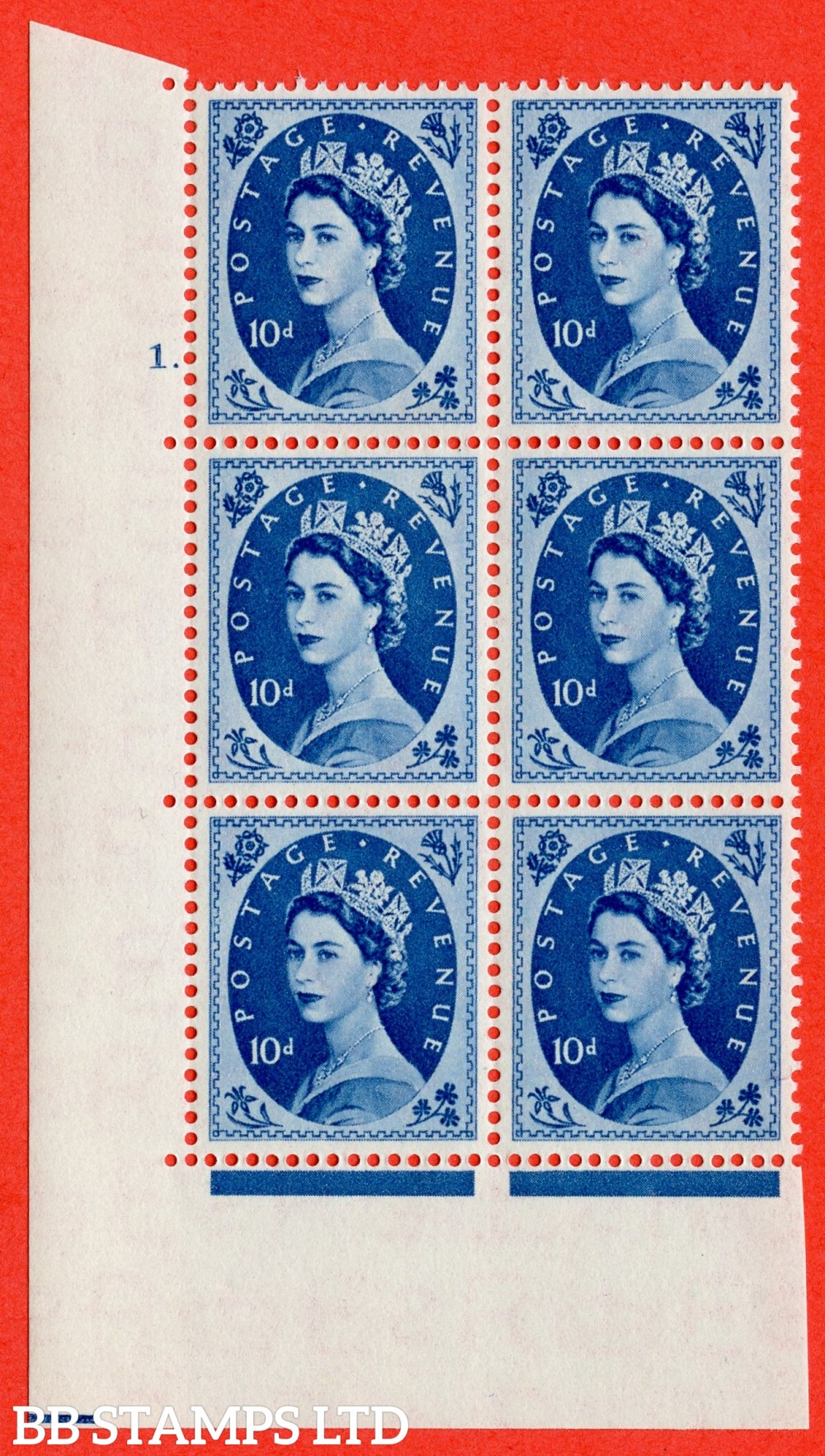 "SG. 527. S129. 10d Prussian blue. A superb UNMOUNTED MINT "" cylinder 1 dot "" control block of 6 with perf type A E/I."