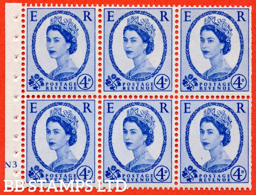 "SG. 576a. SB105f. 4d Deep Ultramarine. A fine UNMOUNTED MINT cylinder "" N3 no dot "" booklet pane of 6. Perf type (I) with TRIMMED PERFS. Smooth edge. White paper. With listed variety "" Y Flaw "" Row 2/2."