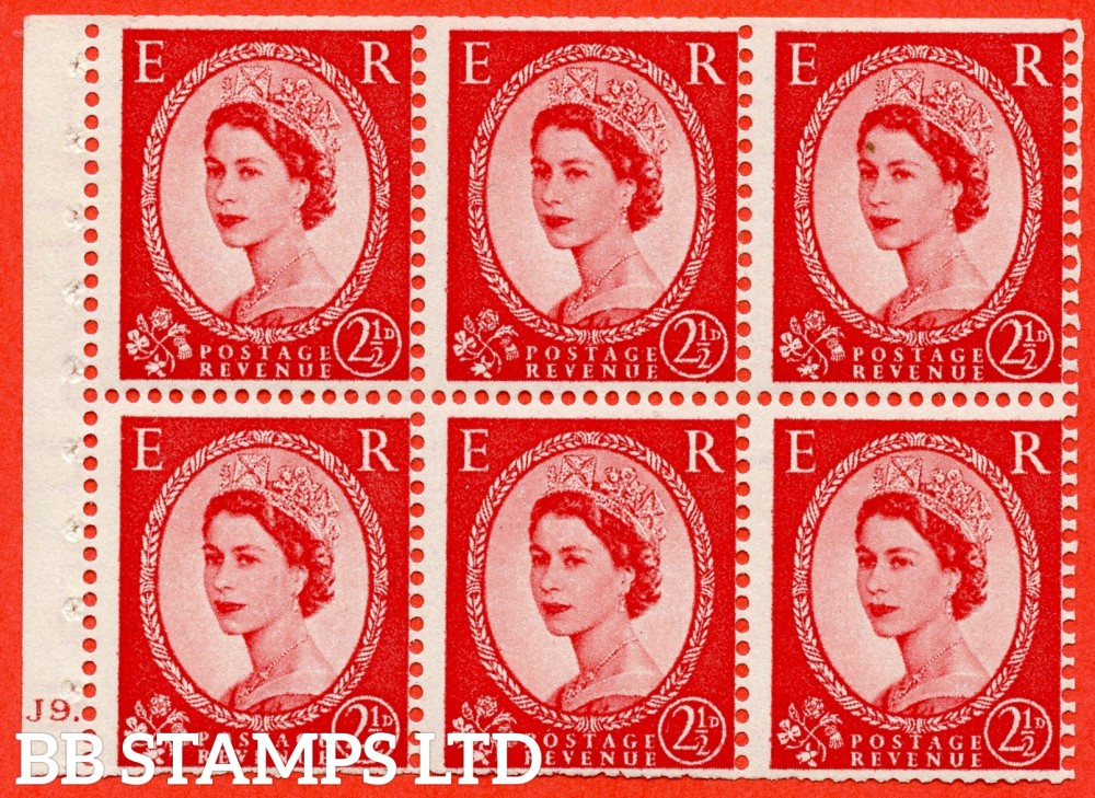 "SG. 544b. SB81. 2½d carmine - red. A fine UNMOUNTED MINT "" J9 dot "" booklet pane of 6. Perf type (Ieb) with TRIMMED PERFS. Smooth edge."