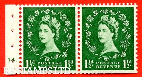 "SG. 542. SB64. 1½d Green. A fine UNMOUNTED MINT cylinder "" 14 dot "" booklet pane. Perf type (E) with GOOD PERFS. Smooth edge."
