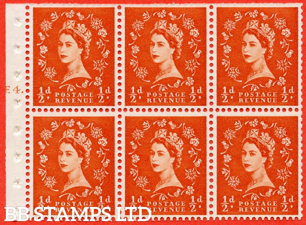 "SG. 570. SB7. ½d orange - red. A fine UNMOUNTED MINT cylinder "" E4 T dot "" booklet pane of 6. Perf type (Iet) with TRIMMED PERFS. Smooth edge."