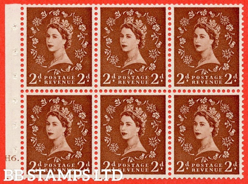 "SG. 543b. SB78g. 2d Light red-brown. A fine UNMOUNTED MINTcylinder "" H6 dot "" booklet pane of 6. Perf type (Ieb) with GOOD PERFS. Smooth edge. Listed variety "" Daffodil stem flaw ""."