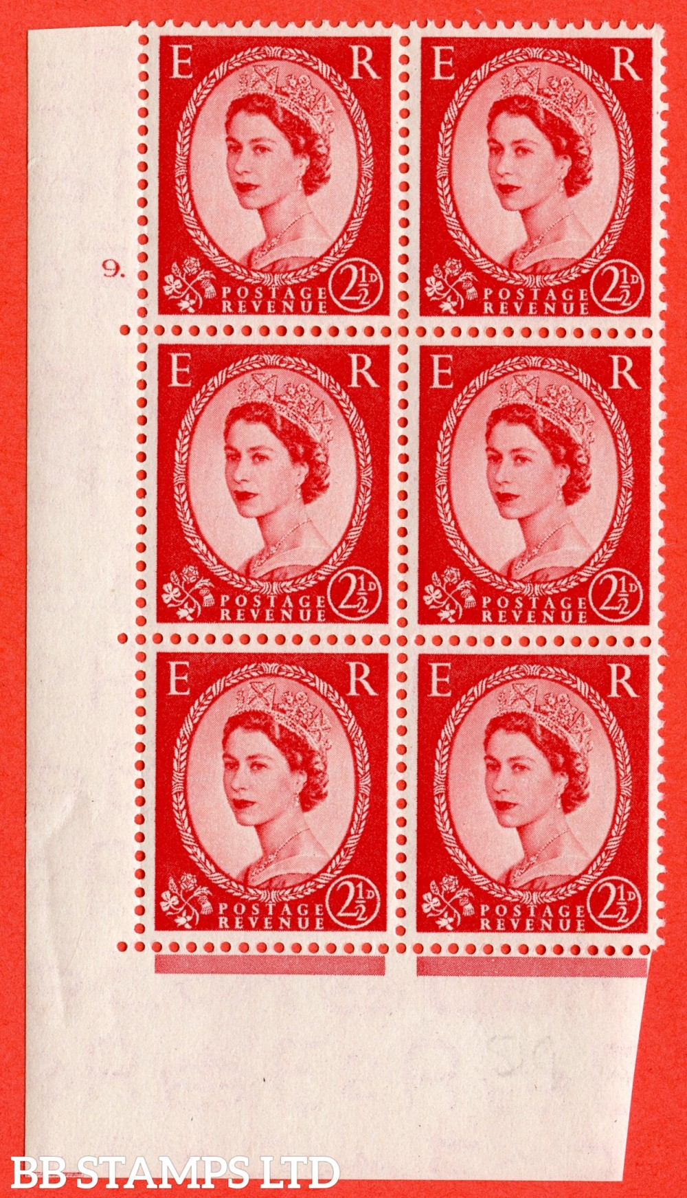 "SG. 519. S50. 2½d Carmine Red. A fine mouned mint "" cylinder 9 dot "" control block of 6 with perf type A E/I."