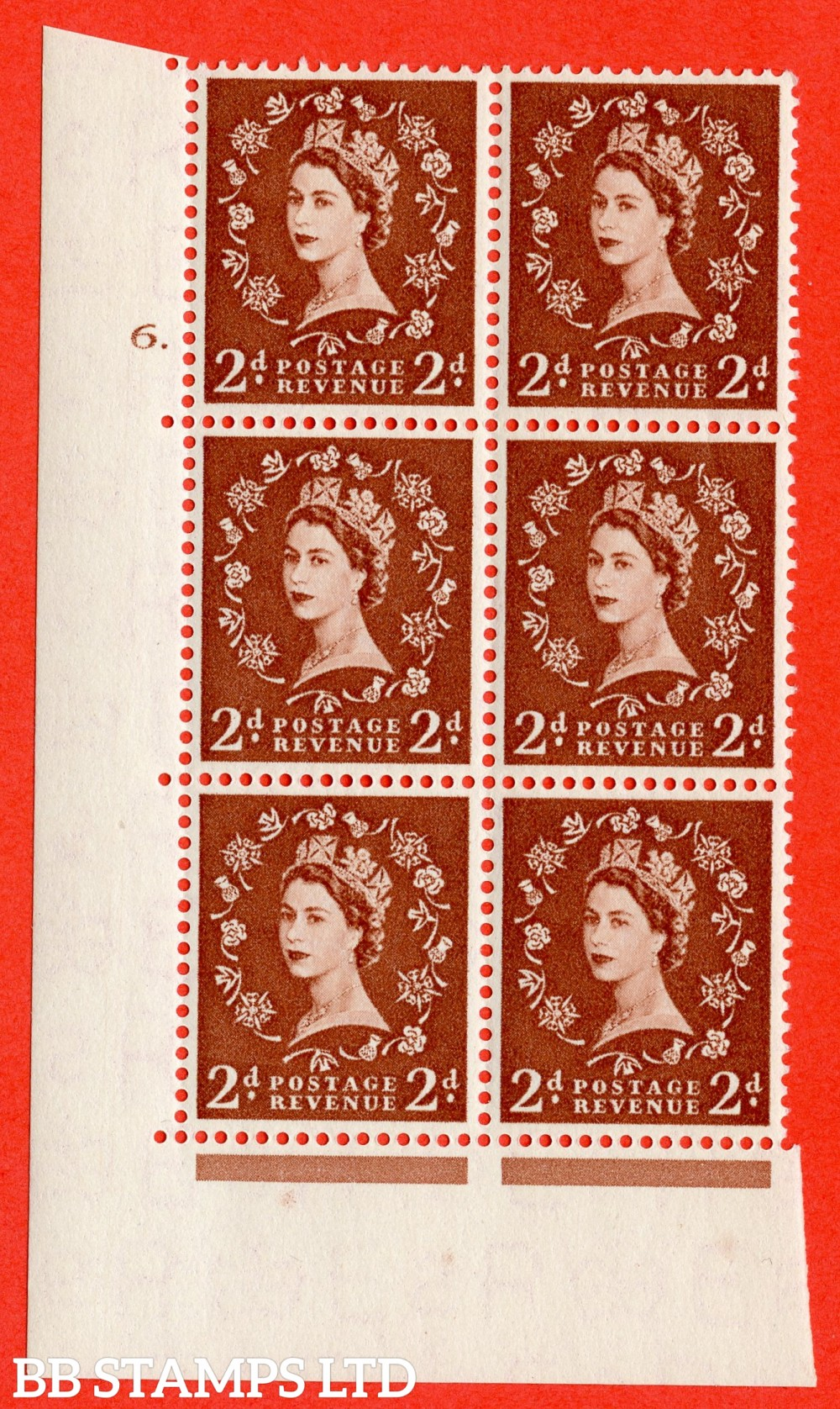 "SG. 543b. S38. 2d. Light Red-brown. A superb UNMOUNTED MINT "" cylinder 6 dot "" control block of 6 with perf type A E/I."