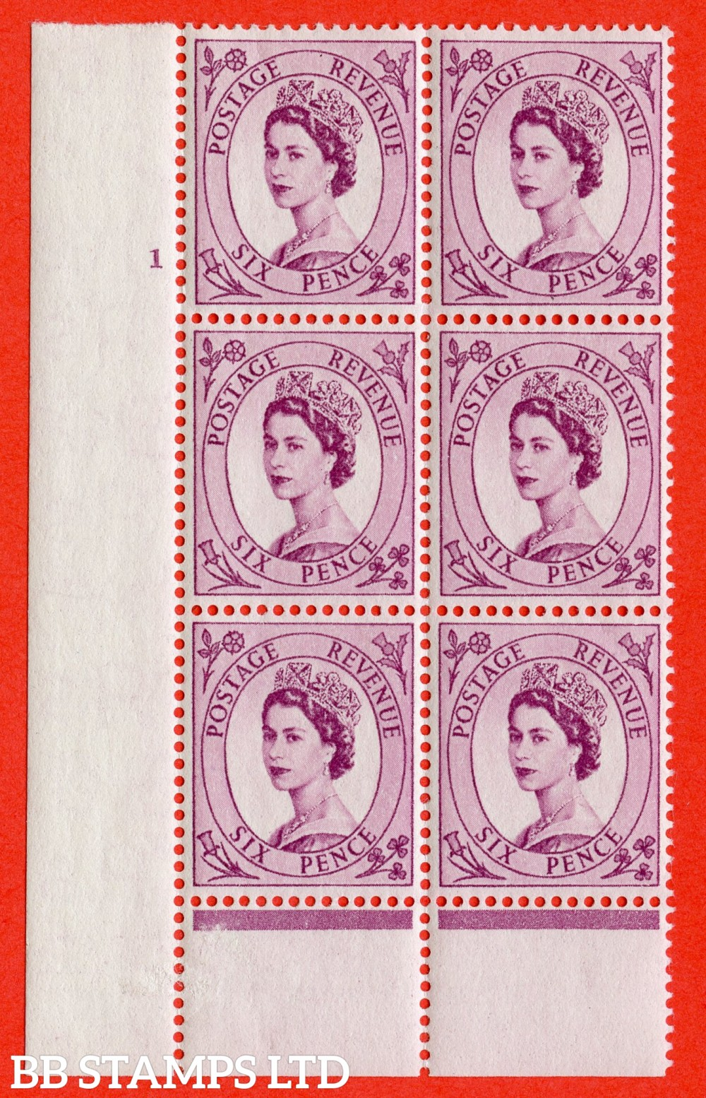 "SG. 548. S105. 6d. Reddish Purple. A superb UNMOUNTED MINT "" cylinder 1 no dot "" control block of 6 with perf type B I/P."