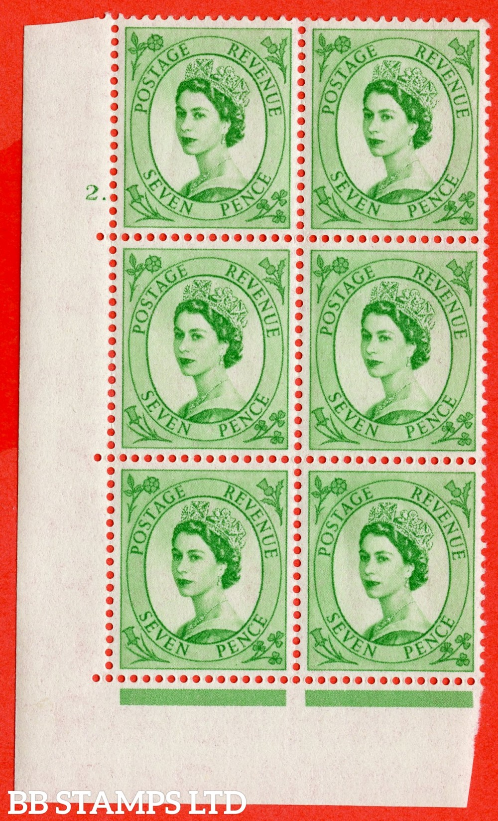 "SG. 549. S115. 7d. Bright Green. A fine lightly mounted mint "" cylinder 2 dot "" control block of 6 with perf type A E/I."