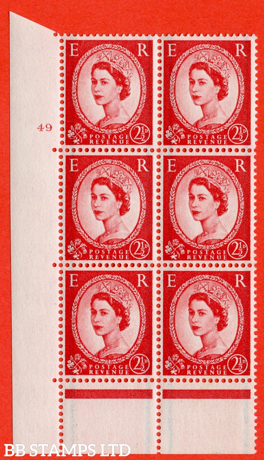 "SG. 565. S54. 2½d Carmine - red. A superb UNMOUNTED MINT "" cylinder 49 no dot "" control block of 6 with perf type C E/P."