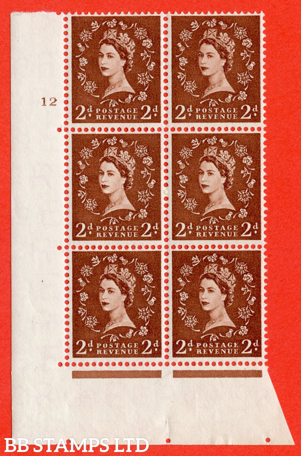 "SG. 543b. S38. 2d. Light Red-brown. A superb UNMOUNTED MINT "" cylinder 12 no dot "" control block of 6 with perf type A E/I."