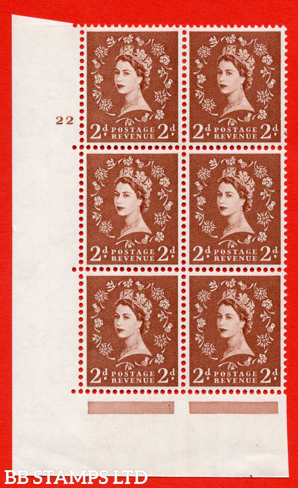 "SG. 573. S40. 2d light red brown . A superb UNMOUNTED MINT "" cylinder 22 no dot "" control block of 6 with perf type A E/I. CREAM paper."