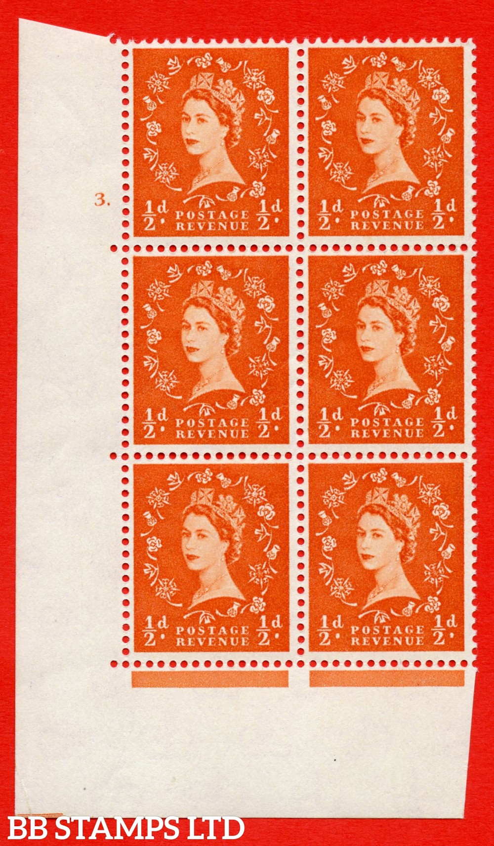 """SG. 570. S4. ½d Orange. A superb UNMOUNTED MINT """" cylinder 3 dot """" control block of 6 with perf type A E/I. CREAM paper."""