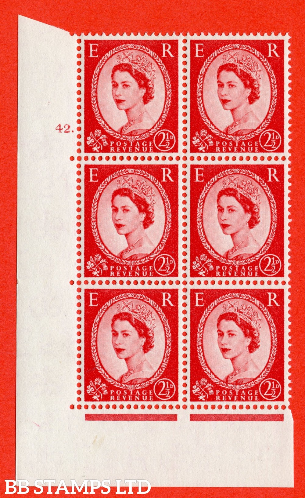 """SG. 544. S52. 2½d. Carmine - Red. A fine lightly mounted mint """" cylinder 42 dot """" control block of 6 with perf type A E/I."""