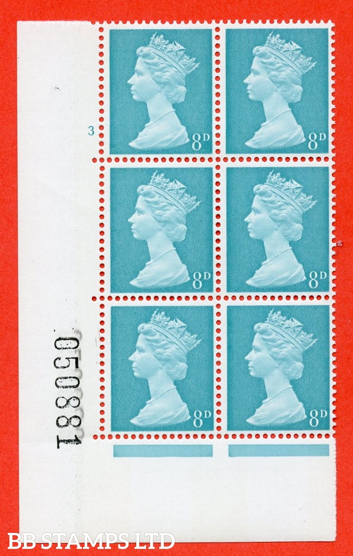 "SG. 739. U21. 8d light turquoise blue  A superb UNMOUNTED MINT "" cylinder 3 no dot "" control block of 6 with perf type A E/I. PVA gum. Head B. Including U21c variation missing pearls (R.19/2)"
