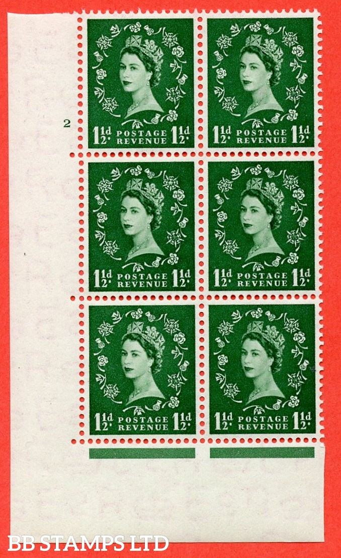 """SG. 517. S25. 1½d Green. A superb UNMOUNTED MINT """" cylinder 2 no dot """" control block of 6 with perf type A E/I."""