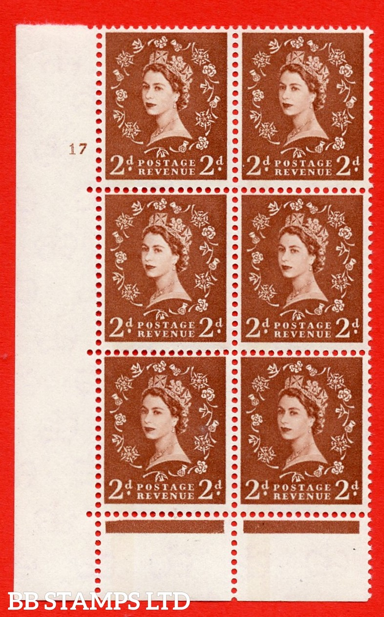 "SG. 613. S44. 2d Light red brown. A superb UNMOUNTED MINT "" cylinder 17 no  dot "" control block of 6 with perf type C (E/P). Green Phosphor."