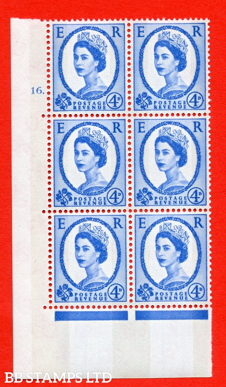 "SG.616a. S92. 4d Deep Ultramarine. A superb UNMOUNTED MINT "" cylinder 18 no dot "" control block of 6 with perf type A (E/I). violet Phosphor 9½mm Band."