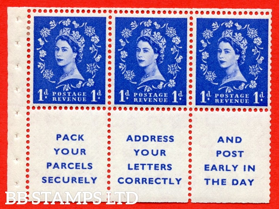 SG. 516La. SB25. 1d ultramarine. A fine MOUNTED MINT Complete booklet pane of 6. Perf type (IR) with Trimmed PERFS.
