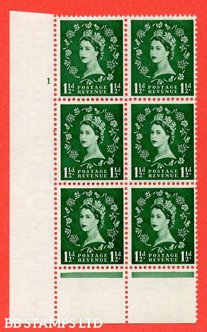 "SG. 517. S25. 1½d Green. A fine lightly mounted mint. "" cylinder 1 no dot "" control block of 6 with perf type B I/P."