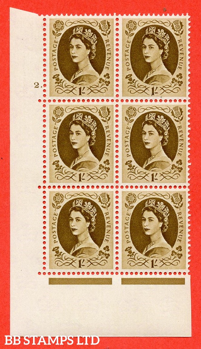 "SG S138. 1/ Bistre Brown  A superb UNMOUNTED MINT "" cylinder 2 dot "" control block of 6 with perf type A (E/I)."