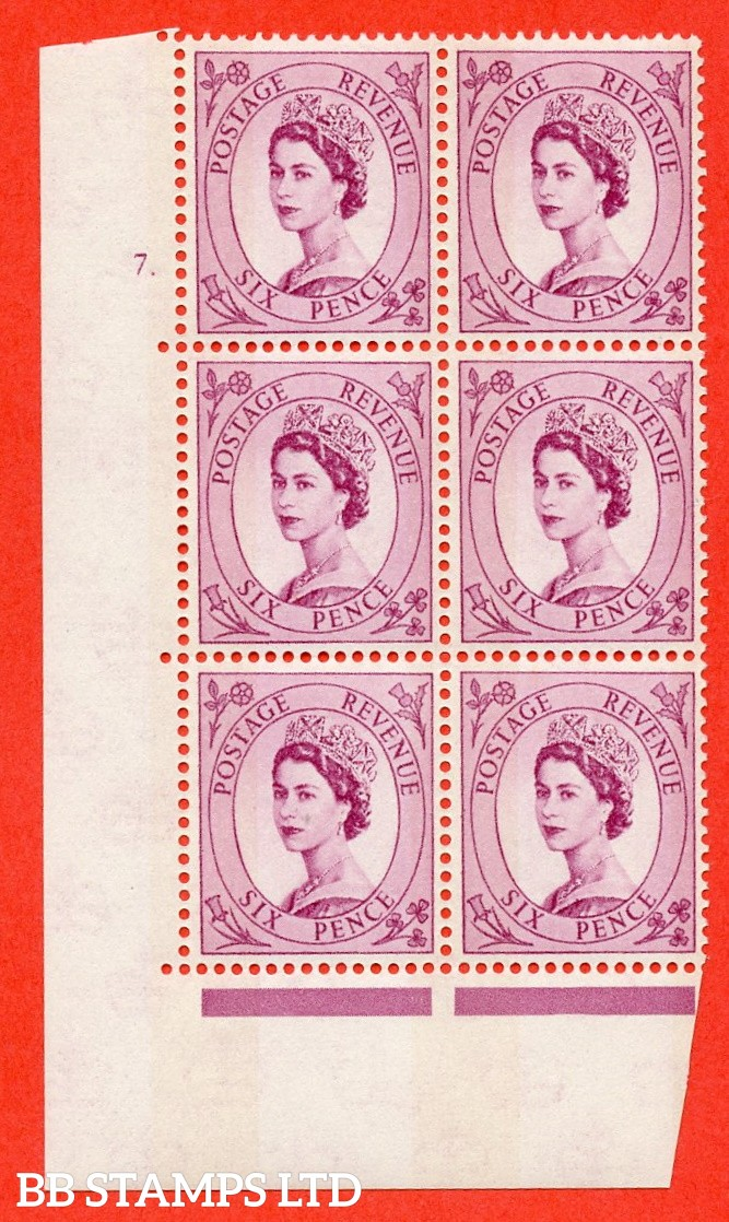 "SG.617. S110. 6d Deep claret. Photo. A fine mounted mint "" cylinder 7 dot "" control block of 6 with perf type A (E/I). Blue Phosphor Cream paper."
