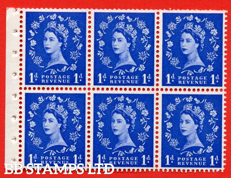 SG. 516L. SB20. 1d ultramarine. A fine UNMOUNTED MINT example. Complete Booklet pane of 6. Perf Type Ieb. Trimmed Perfs.