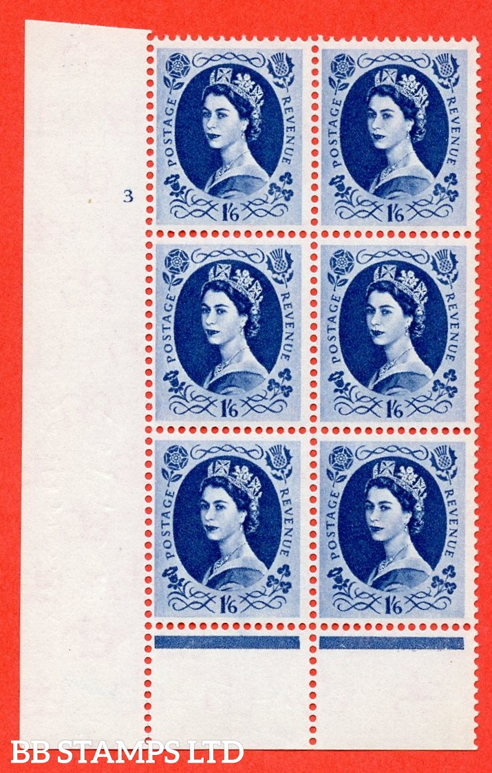 "SG. 586 S152. 1/6d Grey Blue  A fine mounted mint "" cylinder 3 No dot "" control block of 6 with perf type B (I/P)."