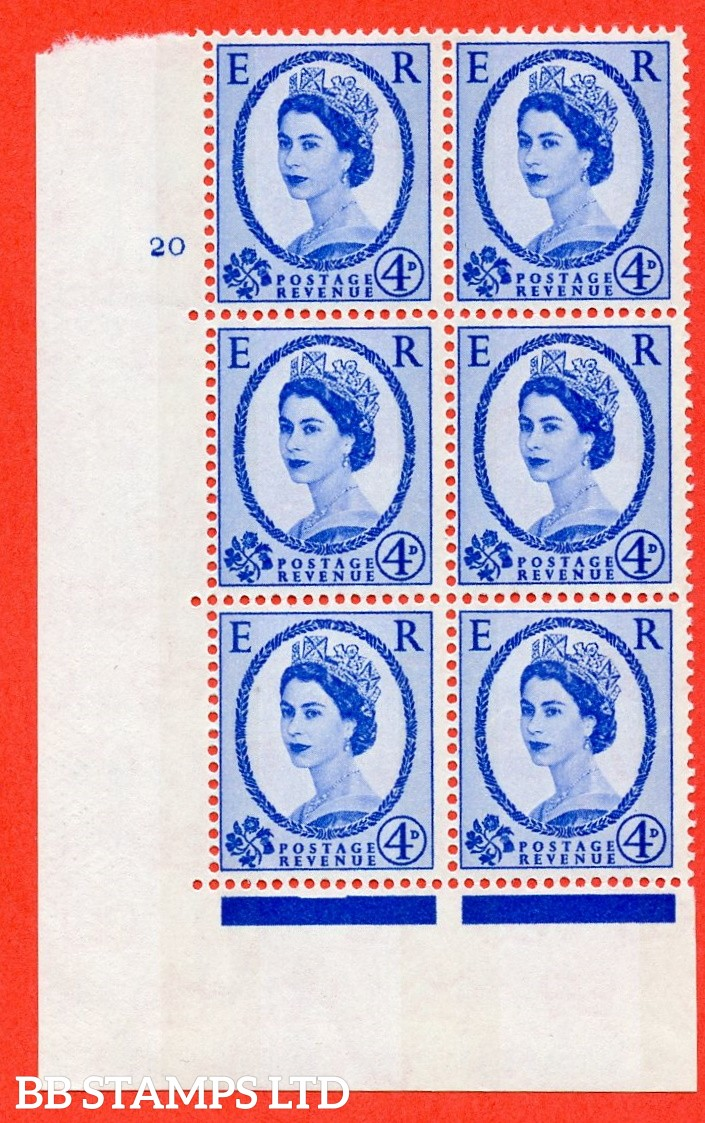 "SG.616a. S91. 4d Deep Ultramarine. A fine mounted mint "" cylinder 20 no dot "" control block of 6 with perf type A (E/I). violet Phosphor 8mm Band."