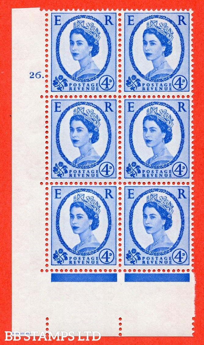 "SG.616a. S92. 4d Deep Ultramarine. A fine mounted mint "" cylinder 26 dot "" control block of 6 with perf type A (E/I). violet Phosphor 9½mm Band."