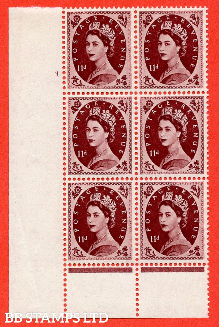 "SG. 553. S135. 11d. Brown - purple. A superb UNMOUNTED MINT "" cylinder 1 no dot "" control block of 6 with perf type B I/P."