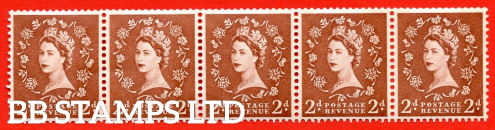 "SG.613a. S49d. 2d Light Red Brown. A superb UNMOUNTED MINT example. Coil strip of 5. Sideways watermark. violet Phosphor 9½mm Band. With a retouched left ""2"" ERROR. Roll 5 variety."