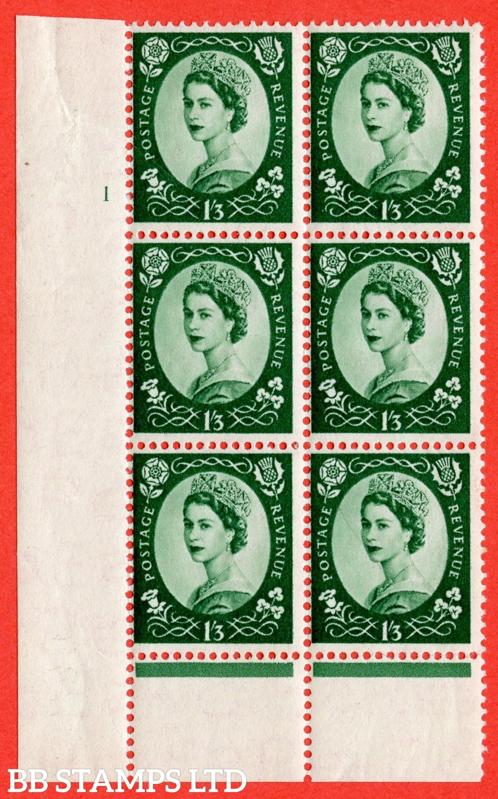 "SG. 530. S141. 1s.3d. Green. A superb UNMOUNTED MINT "" cylinder 1 no dot "" control block of 6 with perf type B I/P."