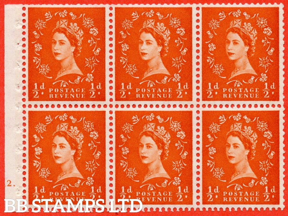 "SG. 610. SB17. ½d Orange Red. A fine UNMOUNTED MINT cylinder "" E12 dot "" booklet pane of 6. Perf type (Iet) with GOOD PERFS. Smooth edge. White Paper."