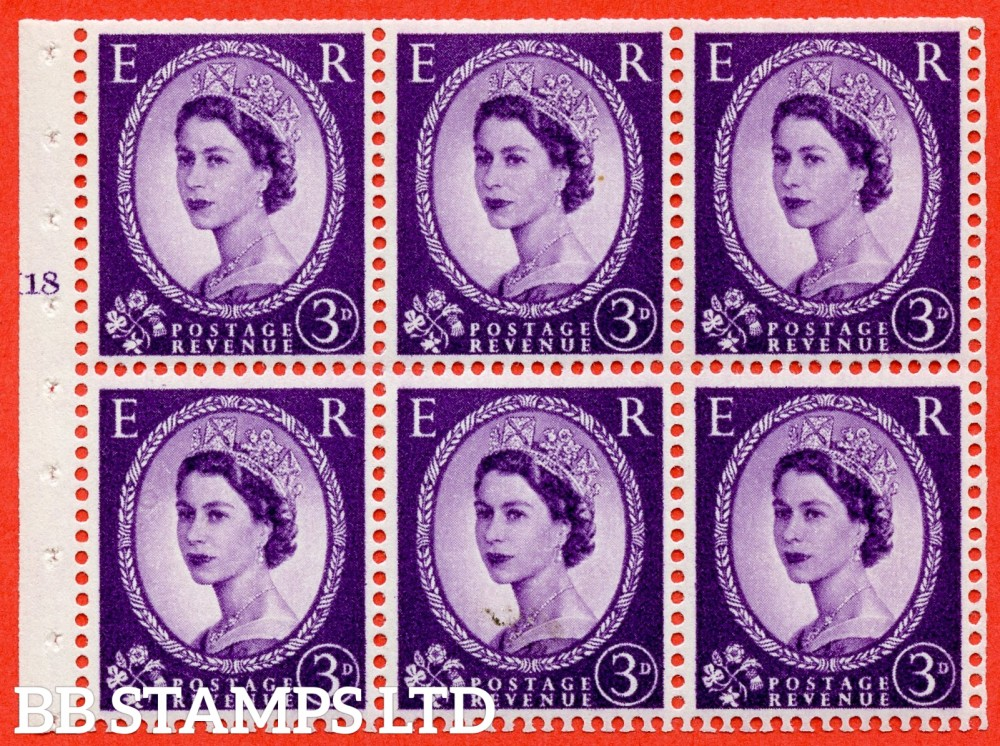 "SG. 575. SB92. 3d Deep Lilac. A fine mounted mint cylinder "" K18 T no dot "" booklet pane of 6. Perf type (I) with TRIMMED PERFS. Smooth edge. Cream paper."