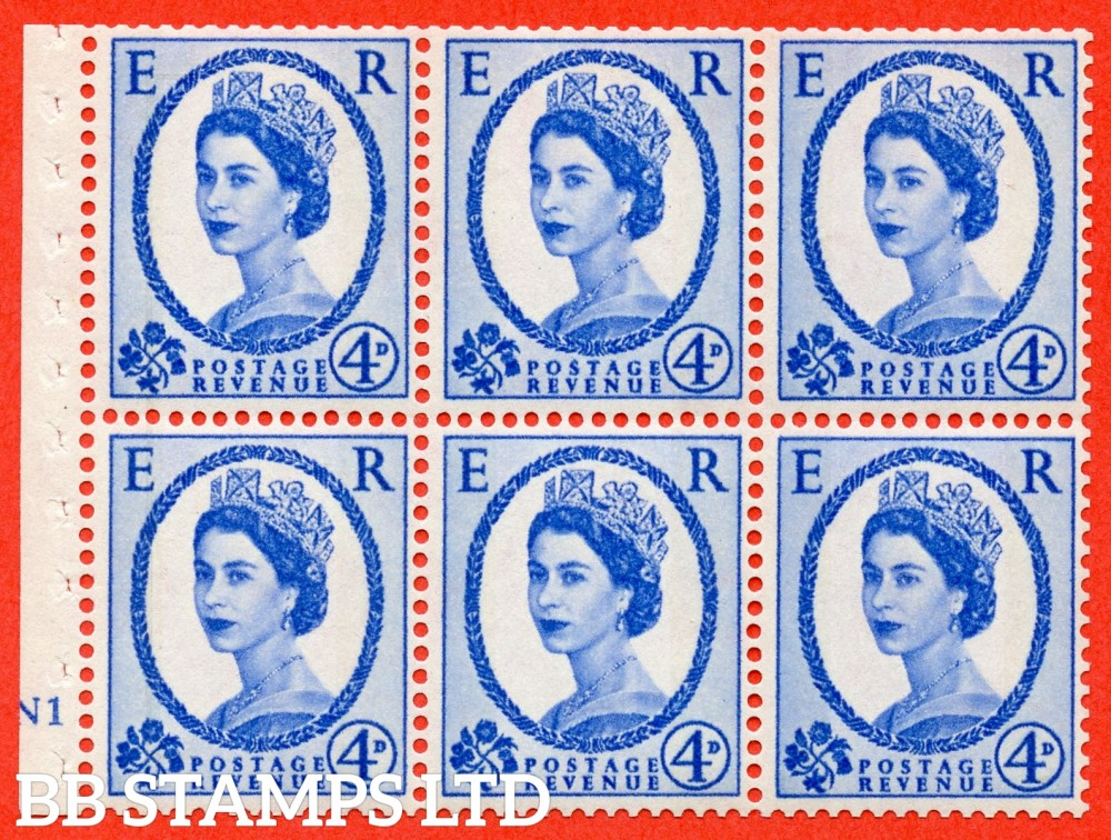 "SG. 616a. SB111. 4d Deep Ultramarine. A fine UNMOUNTED MINT cylinder "" N1 no dot "" booklet pane of 6. Perf type (I) with GOOD PERFS. Smooth edge."