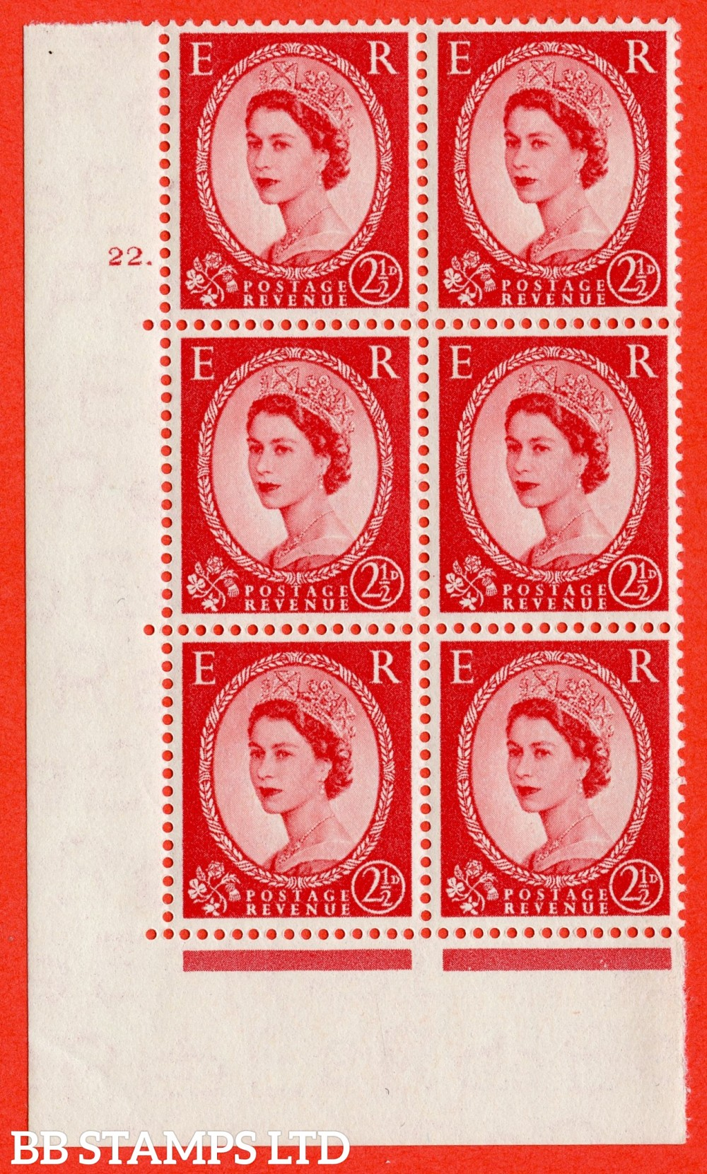 "SG. 519. S50. 2½d Carmine Red. A superb UNMOUNTED MINT "" cylinder 22 dot "" control block of 6 with perf type A E/I."