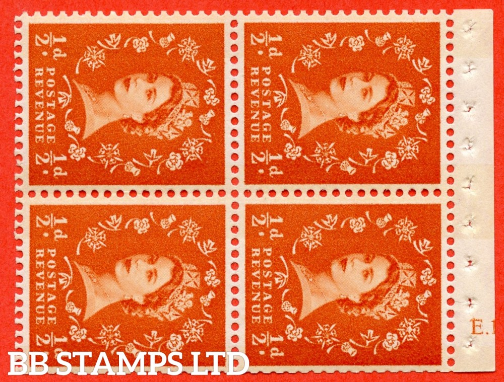 "SG. 610. SB19. ½d Orange Red. A fine UNMOUNTED MINT cylinder "" E.13 no dot "" booklet pane of 4. Perf type (I) with TRIMMED PERFS. Smooth edge. White Paper."