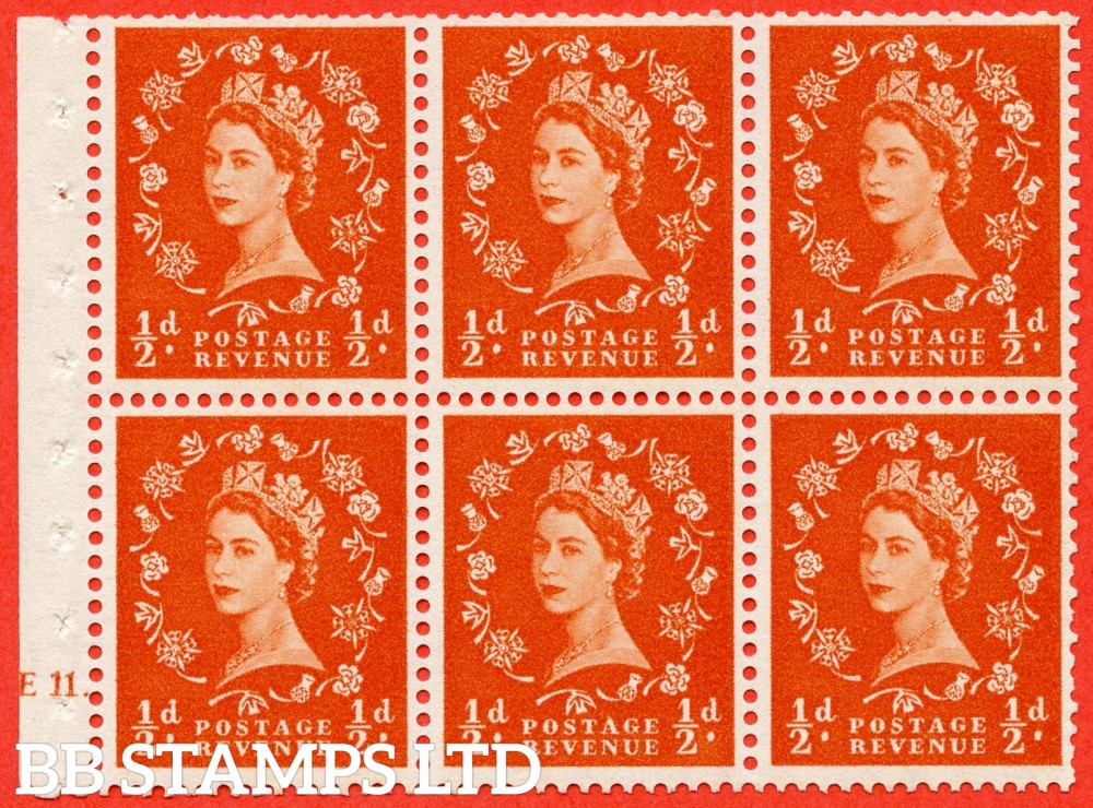 "SG. 570. SB7. ½d orange - red. A fine mounted mint cylinder "" E11 dot "" booklet pane of 6. Perf type (Ieb) with TRIMMED PERFS. Smooth edge."