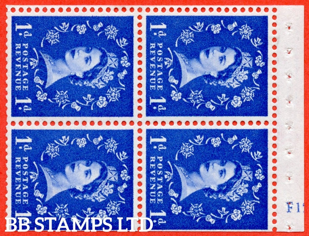"SG. 571. SB34. 1d Ultramarine. A fine UNMOUNTED MINT cylinder "" F12  no dot "" booklet pane of 4. Perf type (I) with TRIMMED PERFS. Smooth edge. White paper."