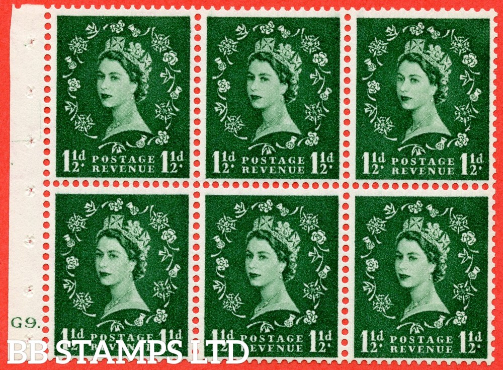 "SG. 542. SB62. 1½d green. A superb UNMOUNTED MINT cylinder "" G9 dot "" booklet pane of 6. Perf type (Iet) with GOOD PERFS. Smooth edge."