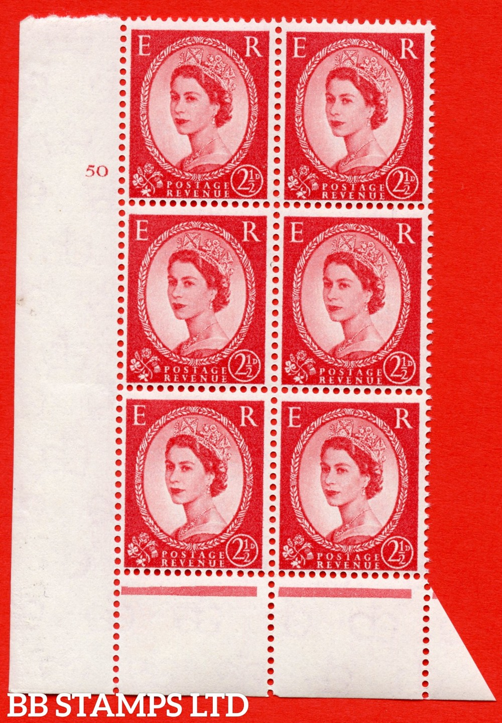 "SG. 574. S55. 2½d Carmine - red.Type II. A superb UNMOUNTED MINT "" cylinder 50 no dot "" control block of 6 with perf type B I/P. CREAM paper."